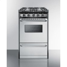 """Slide-in Gas Range In Slim 20"""" Width, With Stainless Steel Doors and Four Sealed Burners; Replaces Tnm130r"""