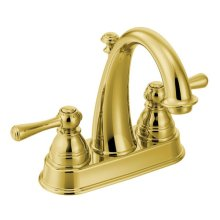Kingsley polished brass two-handle bathroom faucet