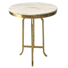 FILLMORE BAR TABLE  Brushed Gold Finish on Metal with Marble Top