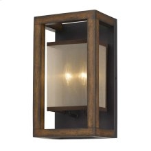 40W x 2 rubber wood wall sconce with organza shade (Edison bulbs not included)