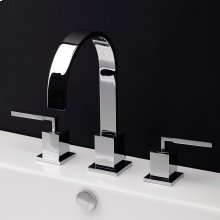 Deck-mount three-hole faucet with an arch spout featuring natural water flow, two lever handles, pop-up deain included.