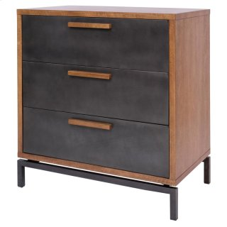 Bellevue KD Chest 3 Drawers Graphite Metal Legs, Graphite/ Natural