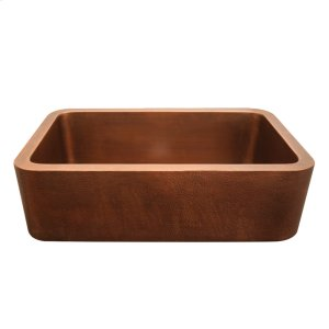 "Copperhaus rectangular undermount sink with a smooth or hammered front apron and a 3 1/2"" center drain - 14 gauge copper sink. Product Image"