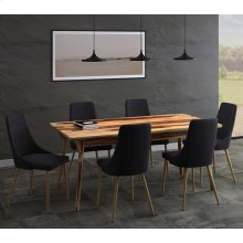 Mira/Carmilla 7pc Dining Set, Sheesham/Black