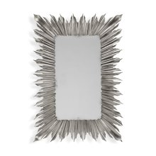 Silvered rectangular sunburst mirror