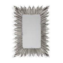 Silvered rectangular sunburst mirror