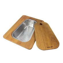 Iroko-wood chopping board with stainless steel colander 8644 042