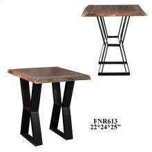 Bengal Manor Acacia Wood Live Edge and Metal Rectangle End Table