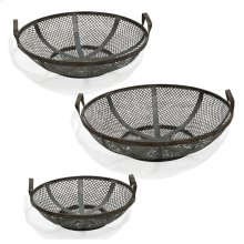 Black Steel  Instustrial Traditonal  Set of Three Metal Baskets