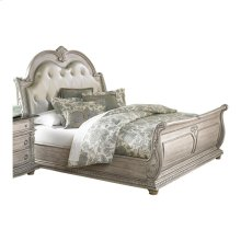 California King Bonded Leather Bed, White Wash