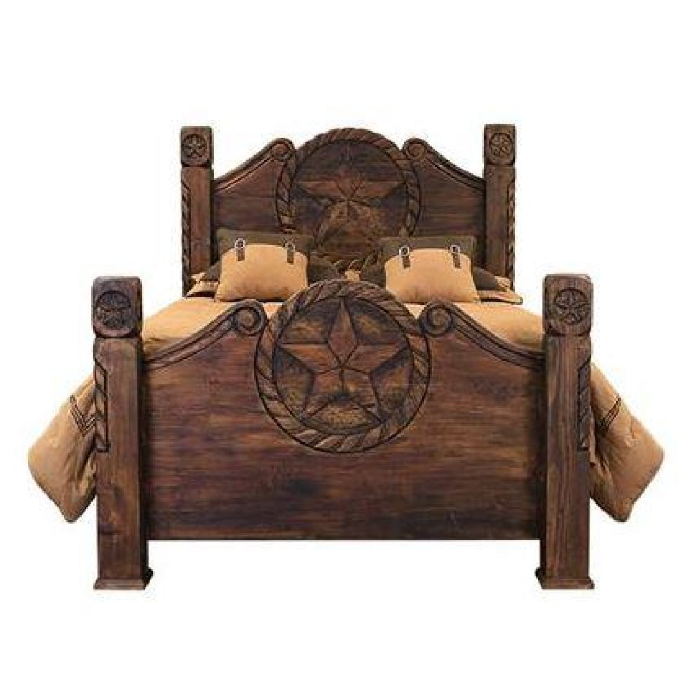 Queen Country Bed W/Rope&Star Medio Finish