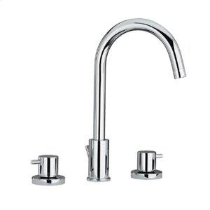 Luxe widespread lavatory faucet with a tall gooseneck swivel spout, short lever handles, and pop-up waste. Product Image