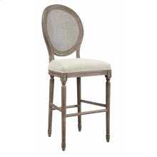 "Barstool 30""-sand Gray Finish W/uph Seat-cream & Back-rattan"