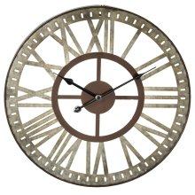 Galvanized Round Wall Clock with Stamped Numbers