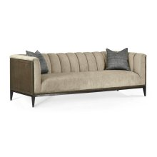"""95"""" Gatsby Square Fluted Dark Grey Walnut Sofa, Upholstered in King Kong"""