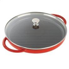 """Staub Cast Iron 10"""" Round Steam Grill, Cherry"""