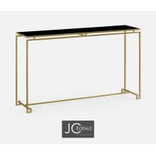 Gilded Iron Large Console Table with A Black Glass Top