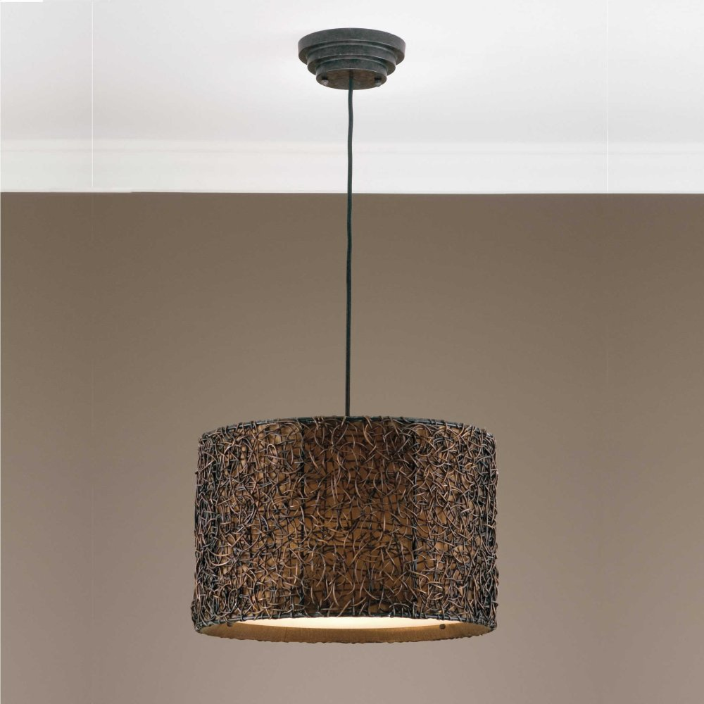 Knotted Rattan, 3 Lt Pendant