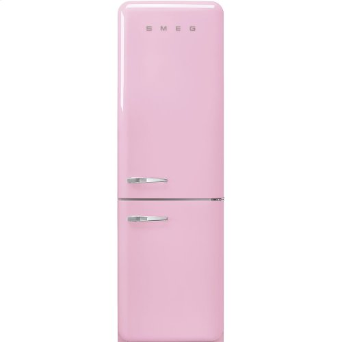 """'50s Style No Frost' Fridge-Freezer, Pink, Right Hand Hinge, 60 cm (Approx 24"""")"""