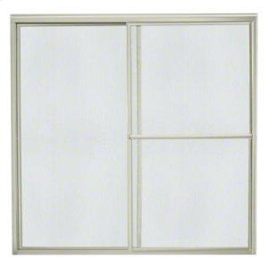 "Deluxe Sliding Bath Door - Height 56-1/4"", Max. Opening 59-3/8"" - Nickel with Rain Glass Texture Product Image"