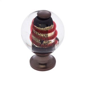 Old World Bronze 30 mm Clear Knob w/Red Product Image