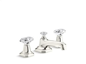 Sink Faucet, Clear Crystal Handles - Nickel Silver Product Image