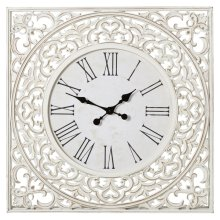White Square Carved Wood Wall Clock