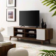 """Tread 70"""" Media Console TV Stand in Walnut White"""