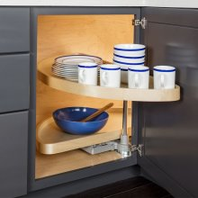 """32"""" Half-Moon Lazy Susan Set with Wood Trays. For a 12"""" Cabinet Opening. Shelves Pivot and Pull Out of the Cabinet Independently. Shipped in Left-hand Configuration but Universal Design. Positive Stop Prevents Trays from Hitting the Back of the Cabinet and Door. Banded Wood Trays with Chrome Pole and Hubs"""