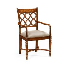 Rope twist veneer open back chair (Arm)