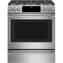 """Café 30"""" Smart Slide-In, Front-Control, Dual-Fuel Range with Warming Drawer"""