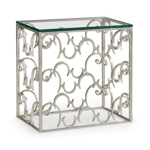 Rectangular Arabesque Silver-Leaf Iron End Table with 20mm Clear Glass Top