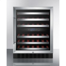 Dual Zone Built-in Wine Cellar With Digital Thermostat, Stainless Steel Trimmed Shelves and Black Cabinet