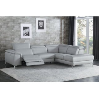 Cinque Leather Gray Power Reclining Sectional