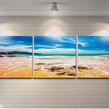 "3 Pieces Printed Art ""beach"" Composition"