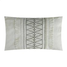 """Embroidered Lumbar Pillow with Insert (21"""" X 13"""") - Oatmeal/ Taupe"""