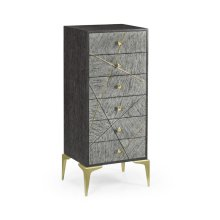 Casual Transitional Tall Dark French Oak Chest of Six Drawers