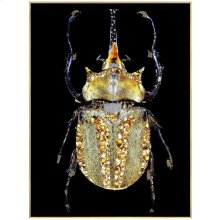 Golden Beetle  24in X 32in X 1in  Framed Tempered Glass Print with Crystal Jewel Accents