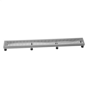 """Brushed Stainless - 60"""" Channel Drain Slotted Grate Product Image"""