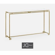 Gilded Iron Large Console Table with An Antique Glass Top