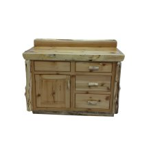 Vanity with Top - 42-inch - Natural Cedar - Sink Right - Liquid Glass