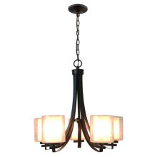 5-Light Single Tier Modern Chandelier in Oil Rubbe
