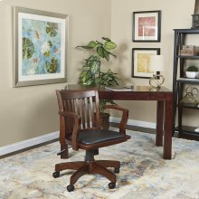 Deluxe Wood Banker's Chair With Vinyl Padded Seat In Espresso Finish