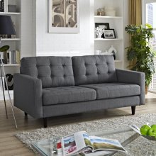 Empress Upholstered Fabric Loveseat in Gray