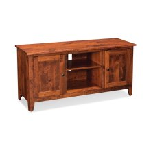 "Shenandoah TV Console with Wood Doors and Open Center, 60"", Character Cherry"