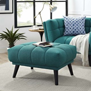 Bestow Upholstered Fabric Ottoman in Teal
