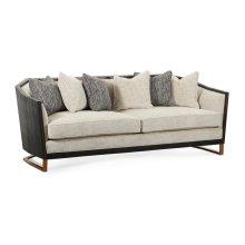 "84 1/2"" Casual Transitional Dark Mocha Oak Sofa, Upholstered in Capriccio Porcelain"