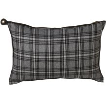 Grey Plaid Lumbar Pillow with Faux Leather Back