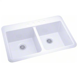 """Slope® 33"""" x 22"""" x 9"""" Double-equal Sink - White Product Image"""