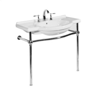 White NOUVEAU Console Lavatory Metal Stand with Polished Nickel Metal Finish